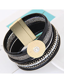 Fashion Black Round Shape Decorated Multilayer Design  Alloy Korean Fashion Bracelet