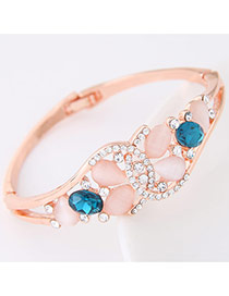 Trendy Blue Gemstone Decorated Simple Design  Alloy Korean Fashion Bracelet