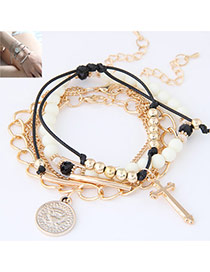 Trendy Gold Color Cross&coins Pendent Decorated Multilayer Design  Alloy Korean Fashion Bracelet