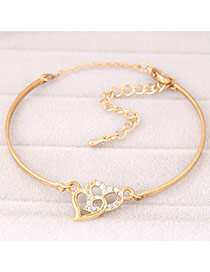 Trendy Gold Color Heart To Heart Decorated Simple Design  Alloy Fashion Bangles