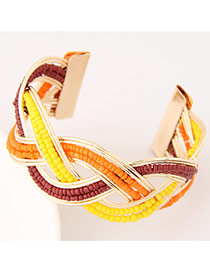 Bohemia Multicolor Beads Decorated Weave Opening Design Alloy Fashion Bangles