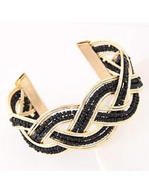 Bohemia Black Beads Decorated Weave Opening Design Alloy Fashion Bangles