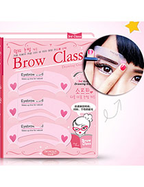 Fashion Pink Heart Pattern Decorated Arc Shape Design Eyebrow Card  Plastic Beauty tools