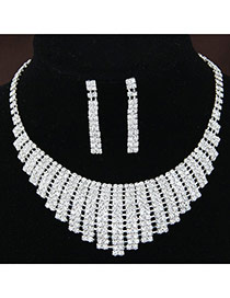 Fashion White Diamond Decorated Rectangle Shape Hollow Out Design
