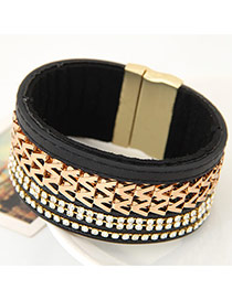 Fashion Black Metal W Letter Shape Weaving Decorated Multilayer Design  Alloy Korean Fashion Bracelet