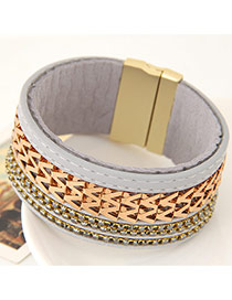 Fashion Gray Metal W Letter Shape Weaving Decorated Multilayer Design  Alloy Korean Fashion Bracelet