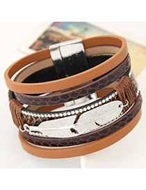 Fashion Dark Brown Feather Shape Decorated Multilayer Design  Alloy Korean Fashion Bracelet