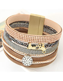 Fashion Coffee Enlish Letter &diamond Decorated Multilayer Design  Alloy Korean Fashion Bracelet