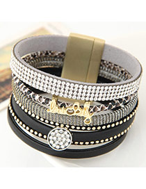 Fashion Black Enlish Letter &diamond Decorated Multilayer Design