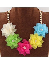 Sweet Multi-color Five Big Flower Decorated Short Chain Design
