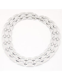 Exaggerate Silver Color Metal Chain Decorated Hollow Out Short Design Alloy Bib Necklaces