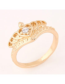 Sweet Gold Color Diamond&crown Decorated Heart Shape Design  Alloy Korean Rings