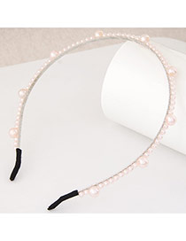 Elegant Light Pink Pearl Weaving Decorated Pure Color Narrow Design  Alloy Hair band hair hoop