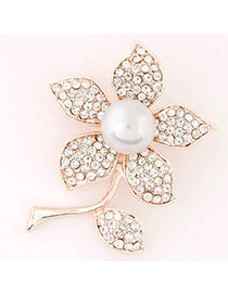Sweet Gold Color Pearl&pearl Decorated Flower Shape Design  Alloy Korean Brooches