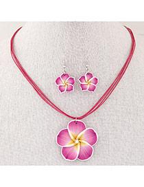 Sweet Plum Red Flower Pendant Decorated Multilayer Short Design  Alloy Jewelry Sets