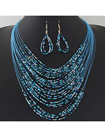 Bohemia Blue Beads Weaving Decorated Multilayer Design