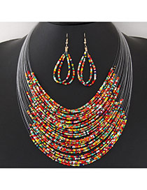 Bohemia Multi-color Beads Weaving Decorated Multilayer Design Alloy Jewelry Sets