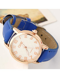 Succinct Blue Letter Pattern Dial Plate Decorated Pure Color Design  Alloy Ladies Watches