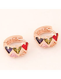 Sweet Rose Gold Triangle Diamond Decorated Simple Design  Cuprum Korean Earrings