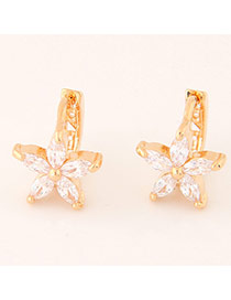 Sweet Gold Color Diamond Decorated Flower Shape Design  Cuprum Stud Earrings
