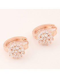 Sweet Rose Gold Diamond Decorated Flower Shape Design Cuprum Korean Earrings