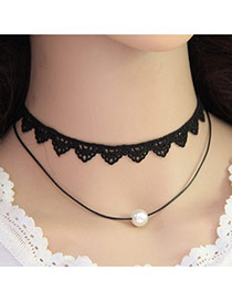Trending White+black Pearl Decorated Double Layer Design