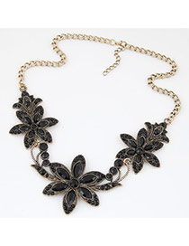 Retro Black Three Bauhinia Decorated Simple Design