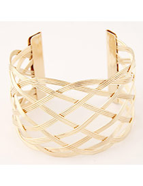 Trending Gold Color Hollow Out Metal Weave Opening Design
