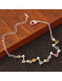 Personality Multicolor Pearl&diamond Decorated Geometry Shape Design  Alloy Korean Fashion Bracelet