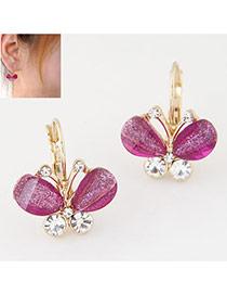 Sweet Purple Diamond Decorated Butterfly Shape Design Alloy Korean Earrings