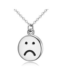 Elegant Silver Color Sad Face Round Pendant Decorated Simple Design Alloy Crystal Necklaces