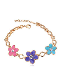 Elegant Champagne Gold+multicolor Flower Shape Decorated Simple Design Alloy Crystal Bracelets