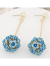 Sweet Blue Flower Decorated Ball Shape Design Alloy Stud Earrings