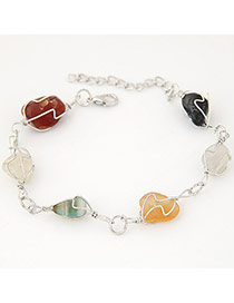Personality Multicolor Irregular Stone Decorated Hollow Out Design Alloy Korean Fashion Bracelet