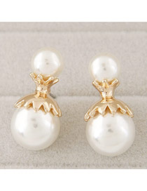 Sweet White Double Pearls Decorated Simple Design