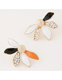 Fashion Black+orange Diamond Decorated Leaf Shape Design