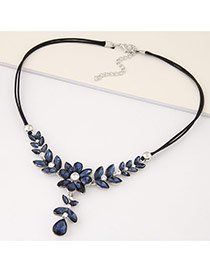 Fashion Blue Flower Shape Decorated Double Layer Design Alloy Bib Necklaces