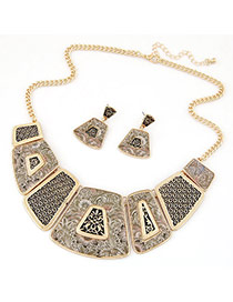 Fashion Gold Color Geometry Shape Deocrated Simple Design Alloy Jewelry Sets