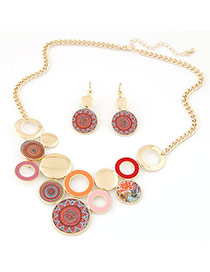 Fashion Gold Color Flower Pattern Decorated Round Shape Design Alloy Jewelry Sets