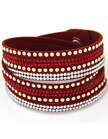 Fashion Red Diamond Decorated Multilayer Design