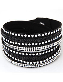 Fashion Black Diamond Decorated Multilayer Design