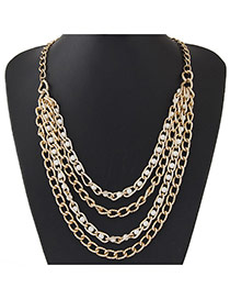 Fashion Gold Color Multilayer Chains Decorated Simple Design Alloy Chains