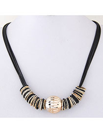 Fashion Black Beads Ball Pendant Decorated Multilayer Chain Design Alloy Bib Necklaces