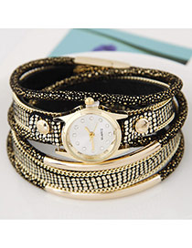 Temperamental White+black Metal Rivet&chain Decorated Multilayer Design