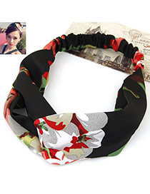 Fashion Black Flower Pattern Decorated Wide Design Fabric Hair band hair hoop