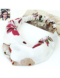 Fashion White Flower Pattern Decorated Wide Design Fabric Hair band hair hoop