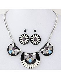 Fashion Black Flower Decorated Simple Design Alloy Jewelry Sets
