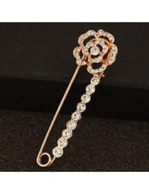 Fashion Gold Color Rose Shape Decorated Simple Design Alloy Korean Brooches