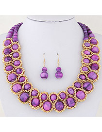 Fashion Purple Beads Decorated Double Layer Design Alloy Jewelry Sets