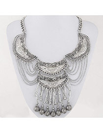 Fashion Silver Color Balls Decorated Multilayer Hollow Out Design Alloy Bib Necklaces